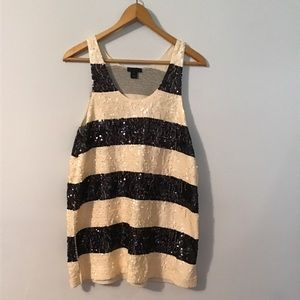 J. Crew Black & Ivory Sequins Top
